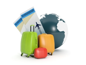 Land and a group of suitcases. To take a vacati
